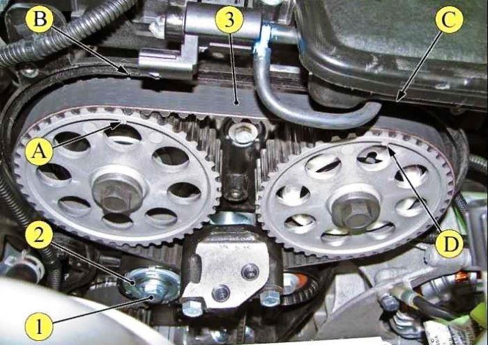 Метки шкивов ГРМ на двигателе ВАЗ-21179