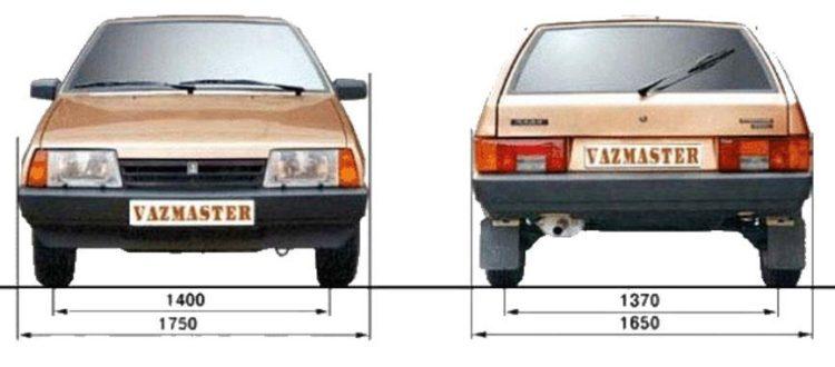 вид спереди и сзади ВАЗ 2109